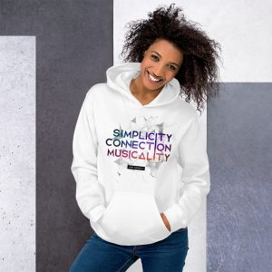 Sweat à capuche White – Simplicity – Connection – Musicality